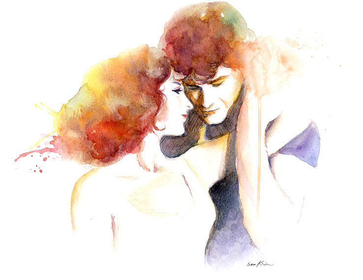 16-Dirty-Dancing-Patrick-Swayze-Jennifer-Grey-Soo-Kim-Celebrity-Watercolor-Portraits-www-designstack-co