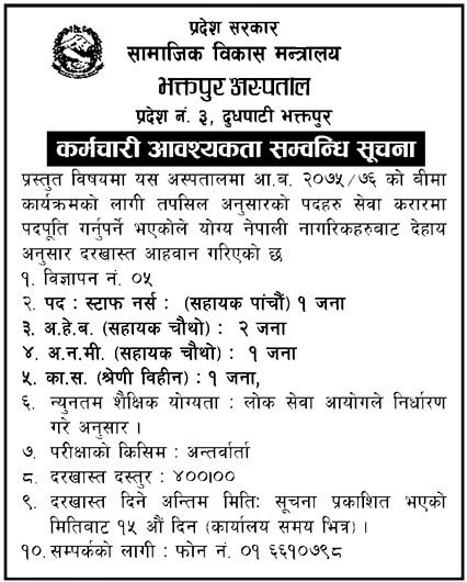 Bhaktapur Hospital Vacancy Notice