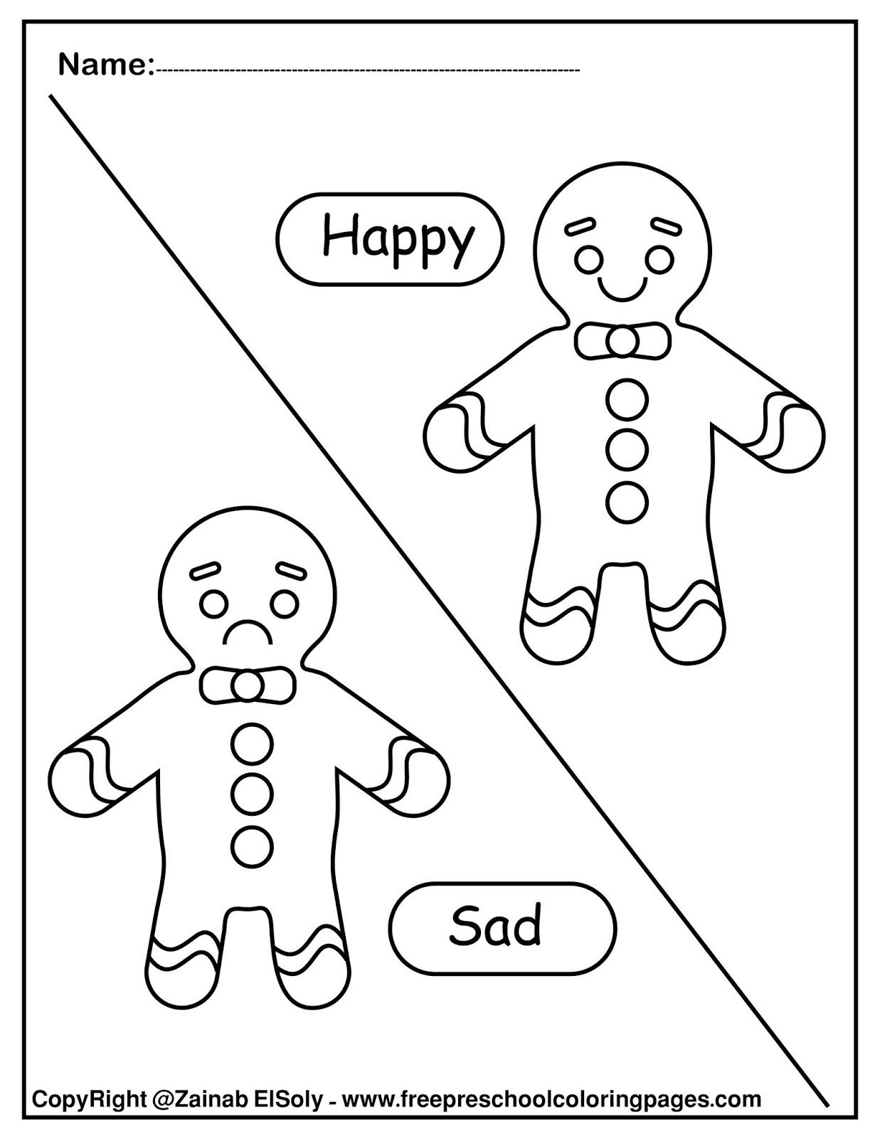 Set Of Gingerbread Man Opposites For Kids