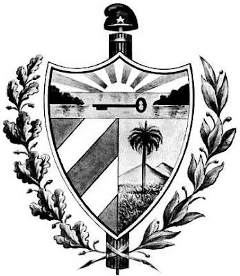 Dibujo de escudo de Cuba en grises