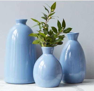 Set of three blue vases Etu Home Artisanal Vase