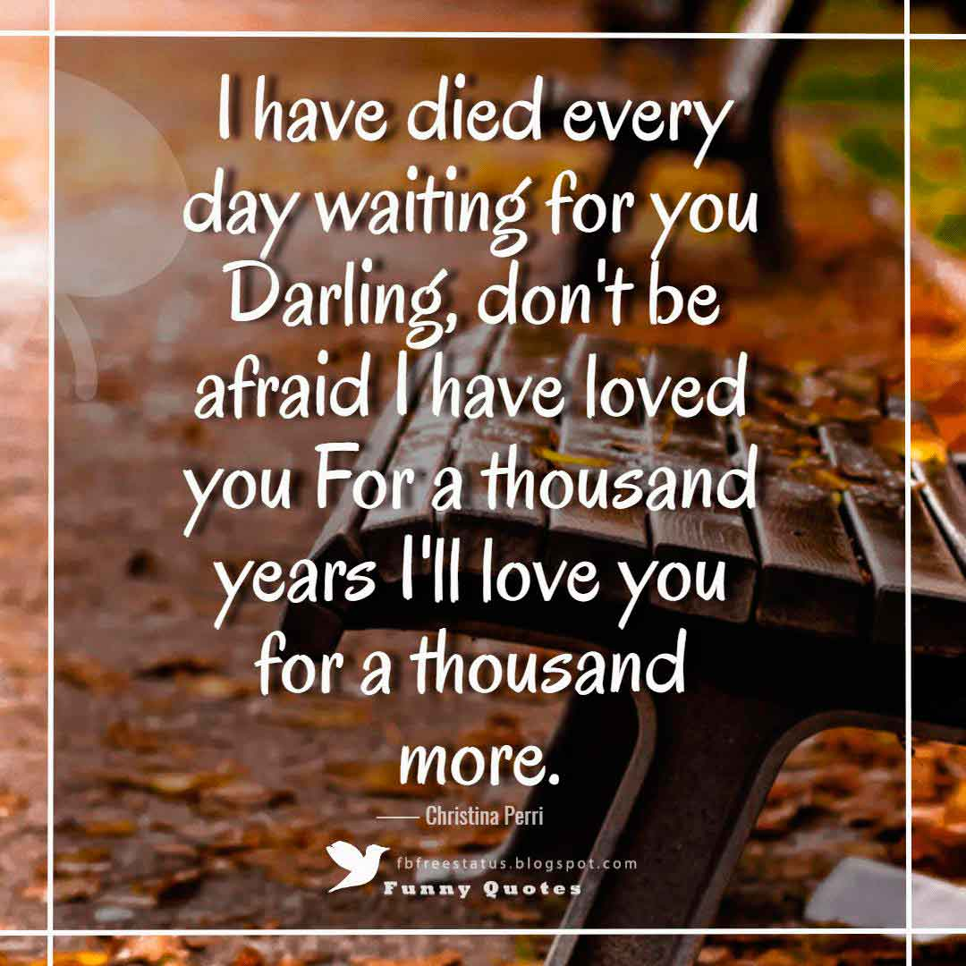 """I have died every day waiting for you Darling, don't be afraid I have loved you For a thousand years I'll love you for a thousand more."" ― Christina Perri ""A Thousand Years"""