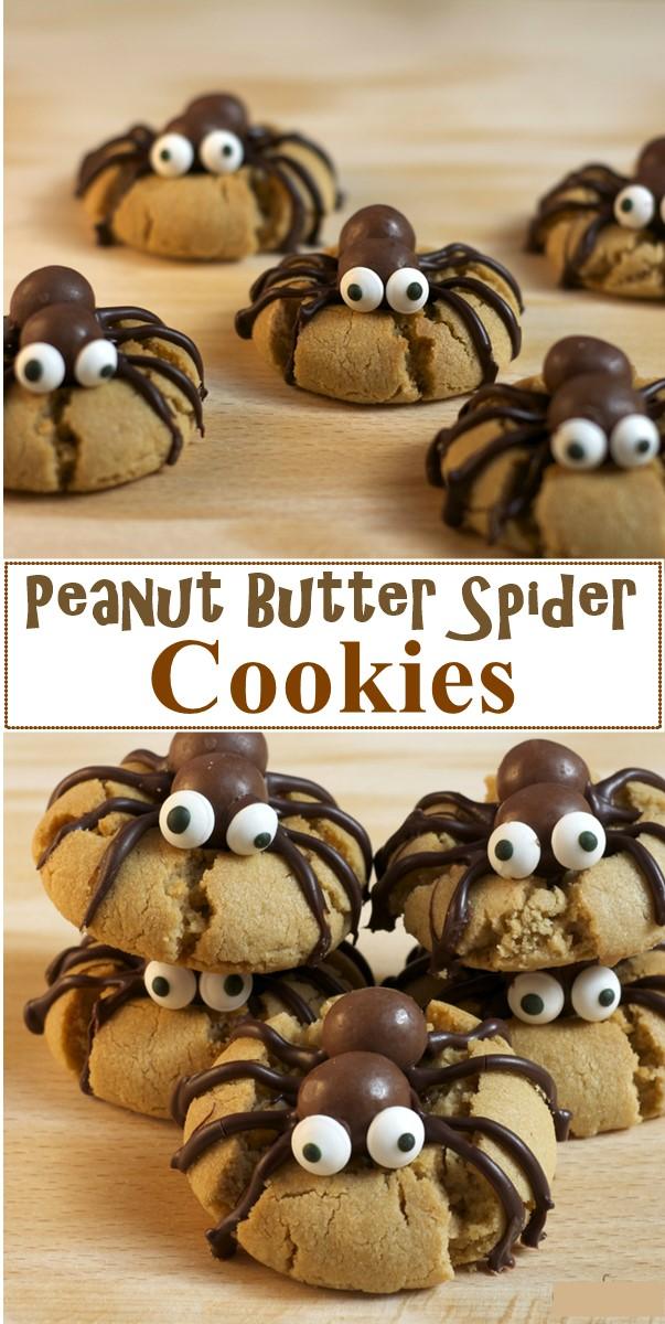 Peanut Butter Spider Cookies #halloweenrecipes