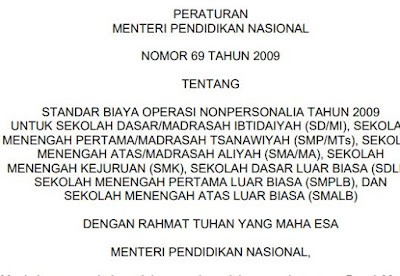 Permen nomor 69 Tahun 2009 Tentang Standar Pembiayaan, http://www.librarypendidikan.com/