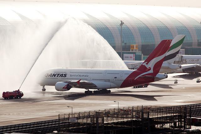 Qantas Airbus A380-800 Water Salute