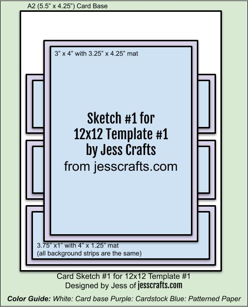 Card Sketch 1 for 12x12 Paper Cutting Template #1 by Jess Crafts