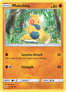 Makuhita Sun and Moon Pokemon Card