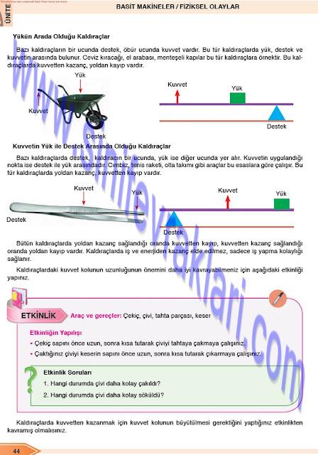 Öğün Yayınları 8. Sınıf Fen Bilimleri Ders Kitabı Cevapları Sayfa 44
