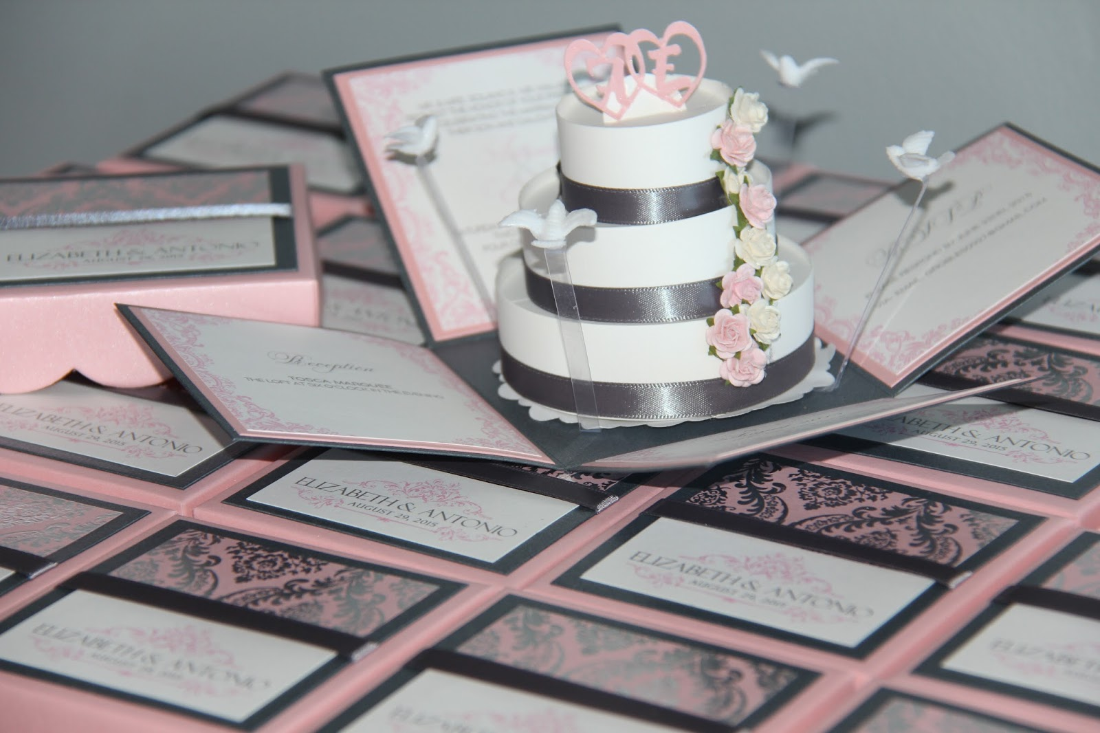jinkyscrafts blogspot masquerade wedding invitations Pink and Gray Modern Wedding Invitations Exploding Box Pop Up Invites