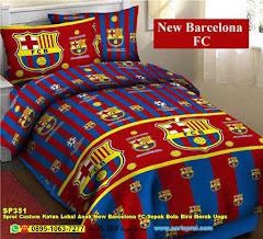 Sprei Custom Katun Lokal Anak New Barcelona FC Sepak Bola Biru Merah Ungu