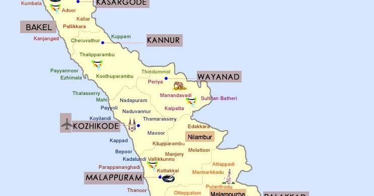 Kerala Tourism Map | Kerala Tourist Map | Map of Kerala ...