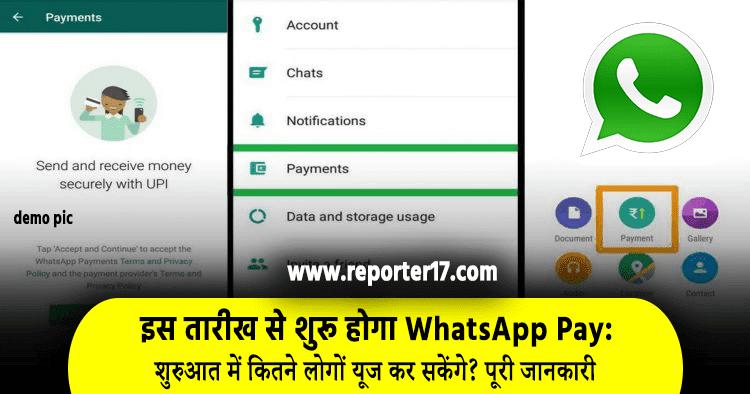 Whatsapp Pay Feature start date