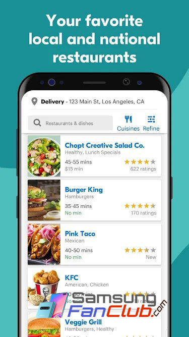Download GrubHub Local Food Delivery Android App in USA for Samsung Phones
