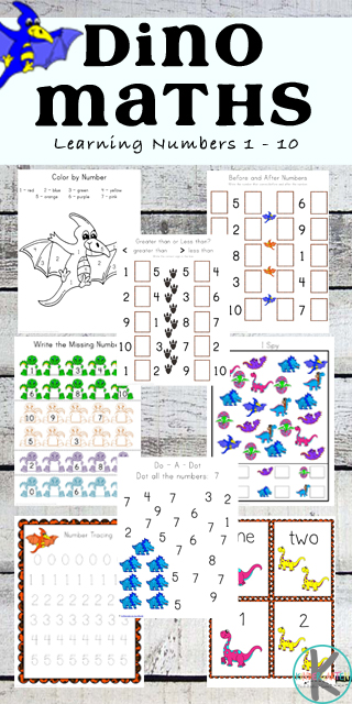 FREE Dinosaur Math Worksheets - these super cute preschool and kindergarten worksheets are perfect for teaching kids counting, color by numbers, which comes next, writing numbers, addition and more. #dinosaursforkids #dinosaurmath #mathworkshets #preschoolmath #kindergartenmath #kindergarten #freeworksheets #worksheetsforkids #kindergartenworksheetsandgames