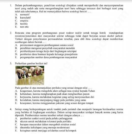 Soal Try Out Ucun Sosiologi Sma Prodi Ips Dki Jakarta Tahun 2019 Sch Paperplane