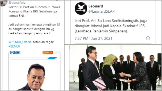 Rektor UI yang Panggil Pengurus BEM Ternyata Jabat Komisaris BUMN, Netizen: Oalah Pantesan!
