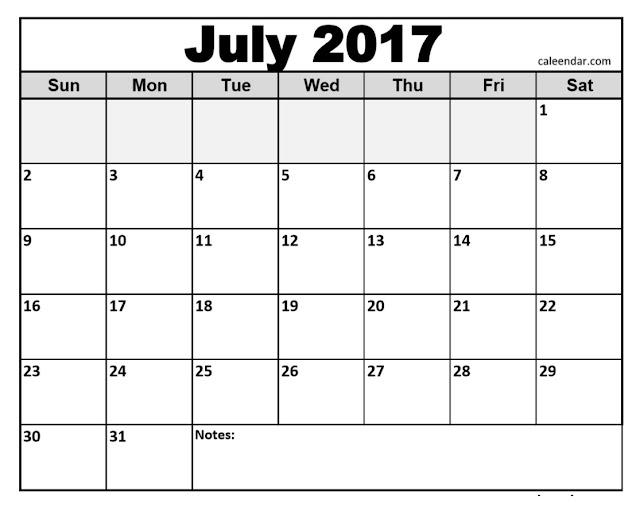 July calendar 2017, Calendar july 2017