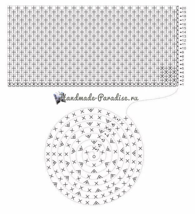 Схема вязания сумочки из трикотажной пряжи