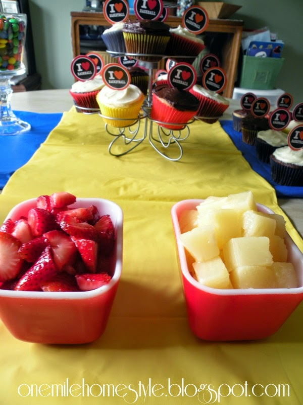 Simple Sports Theme Birthday Party - Cupcakes and Fruit