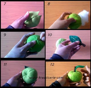Tutorial buah apel dari bahan kain flanel 2