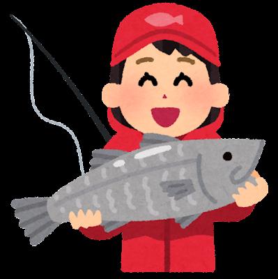 魚を釣った人のイラスト(女性)