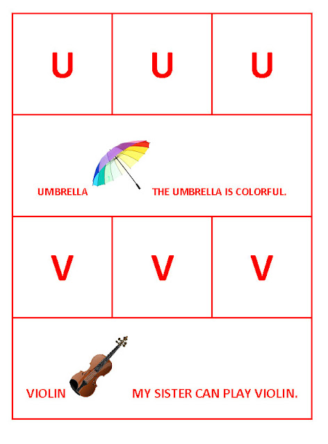 U for Umbrella and V for Violin