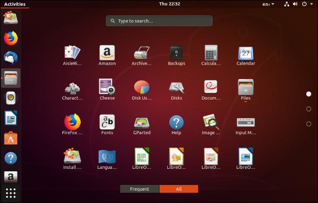 قائمة بالتطبيقات المثبتة المثبتة على سطح مكتب أوبونتو.
