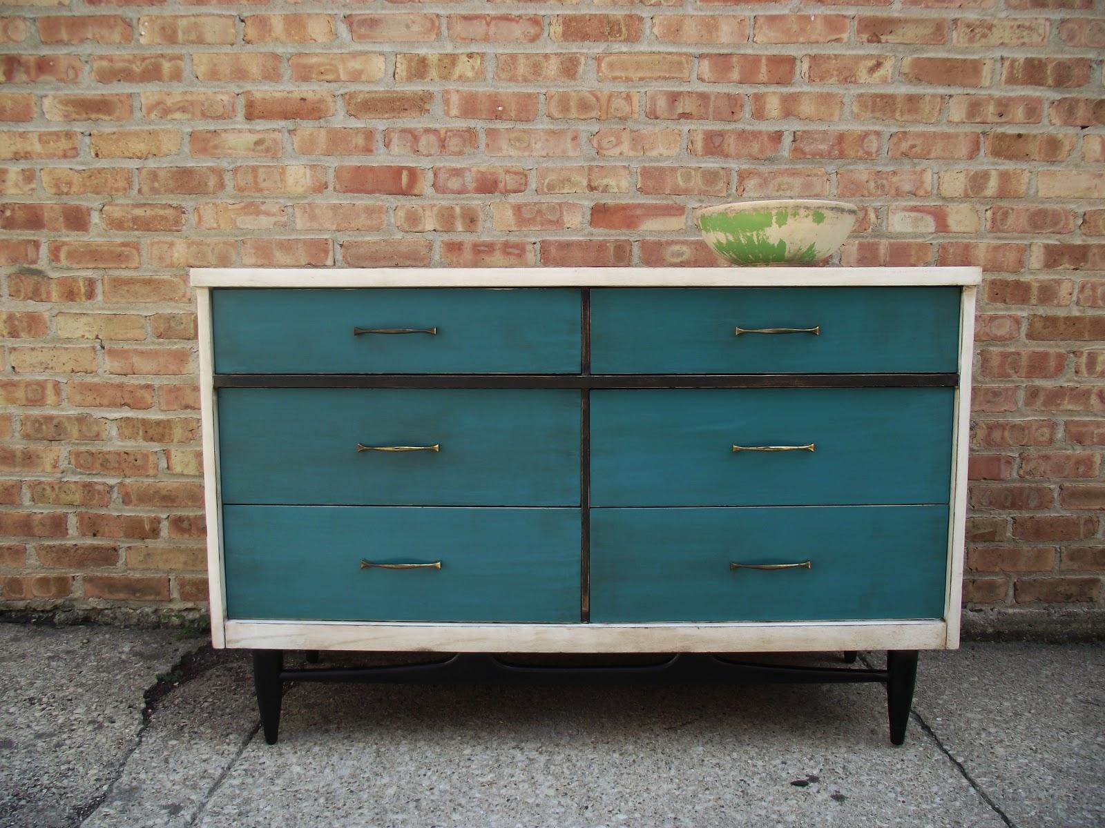 Vintage Ground Teal Distressed Vintage Dresser Buffet
