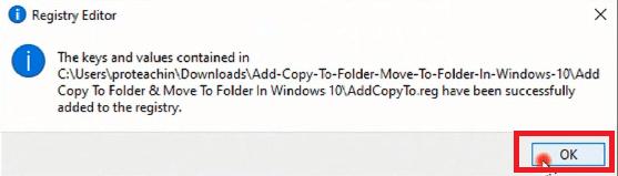 كيفية إضافة خيار Copy Move To Folder إلى ويندوز 10
