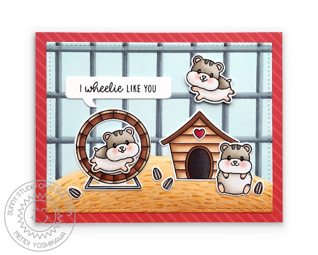 Sunny Studio: Hamsters on Wheel in Cage Card (using Happy Hamsters & Puppy Parents Stamps, Stitched Rectangle & Comic Strip Speech Bubbles Dies and Sleek Stripes Paper)