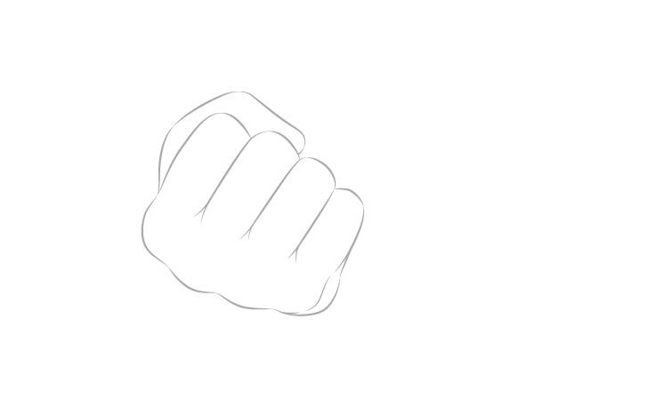 Tangan memegang sumpit dengan gambar buku jari tangan