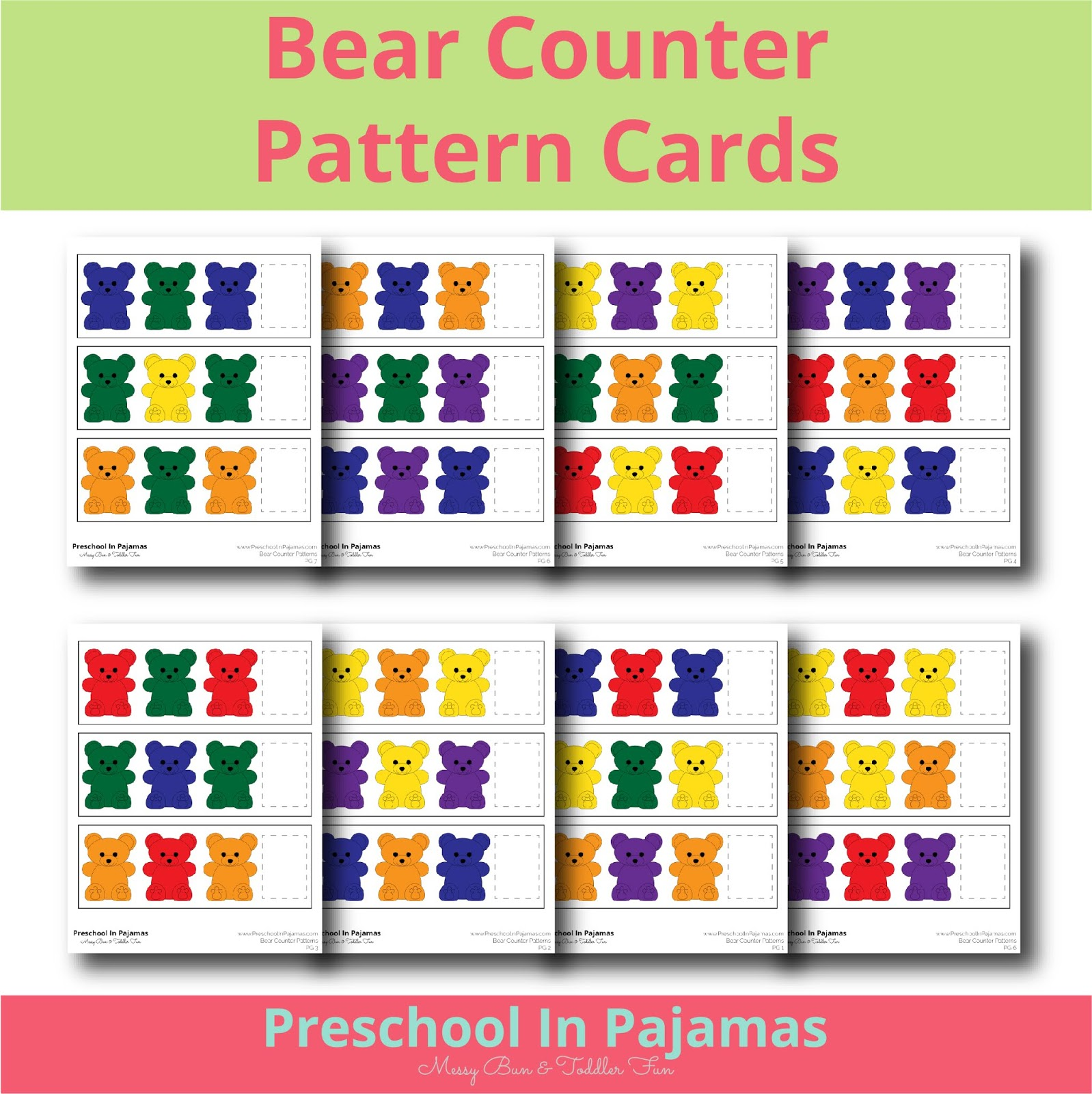 Free Bear Counter Pattern Cards Printable