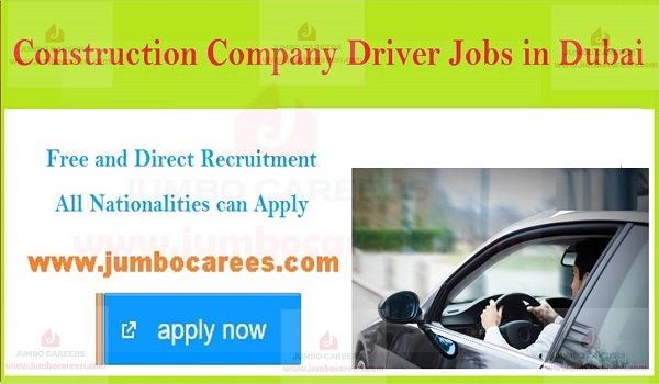 Driver vacancies in UAE with salary, latest job openings in UAE,