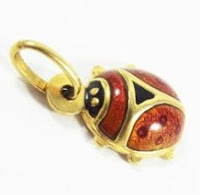 Ladybug, Gold Enamel Charm, Lucky Charm, Good Luck, Feng Shui, Protect