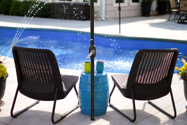 Swimming Pool Patio Makeover / Black and White Patio Decor