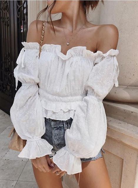 outfit blusa blanca de encaje