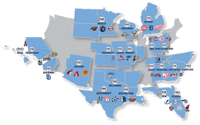 fox sports regional map AT&T TV