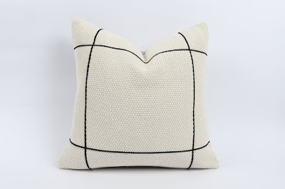 Turkish cream and black pillow cover