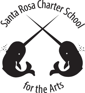 Logo for Santa Rosa Charter School for the Arts. Image depicts two narwhals shown in profile with crossed horns