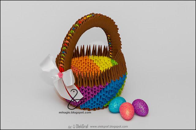 379. Tęczowy koszyk / 3d origami Easter rainbow basket