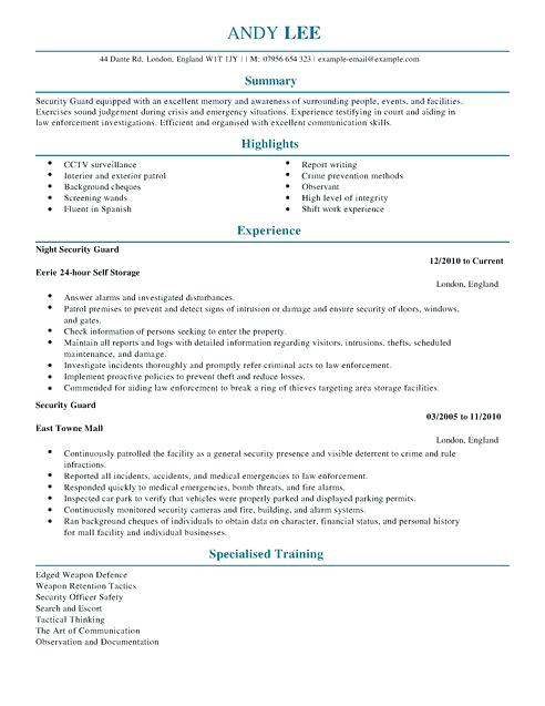 Security Guard Resume Example 2019 - Lebenslauf Vorlage Site