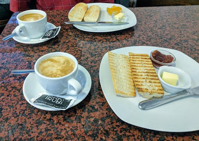 San Sebastián food: toast and coffee at Cafe IruBi