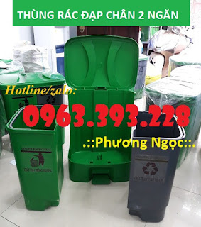Thùng rác 2 ngăn đạp chân, thùng rác nhựa 2 ngăn 40L, thùng rác đạp chân 1a316ee63b3cd962802d