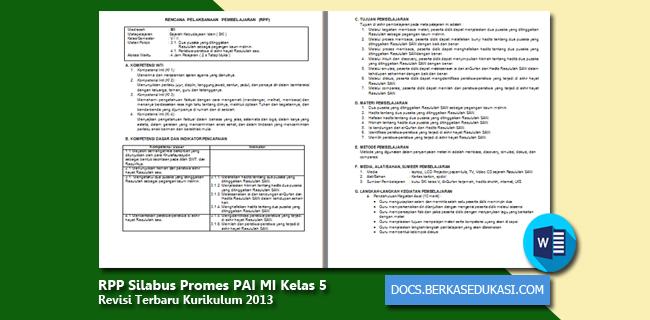 RPP Silabus Promes PAI MI Kelas 5 Revisi 2019-2020 Kurikulum 2013
