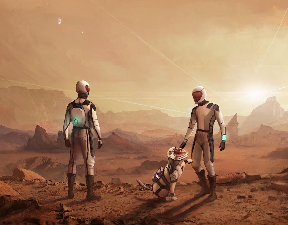 Two Starmen and a Stardog exploring Mars (Guardianes de Perros)