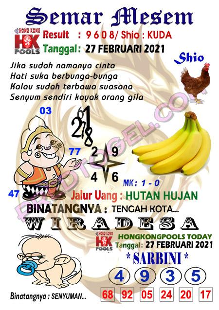 Syair HK Semar Mesem Sabtu 27 Februari 2021