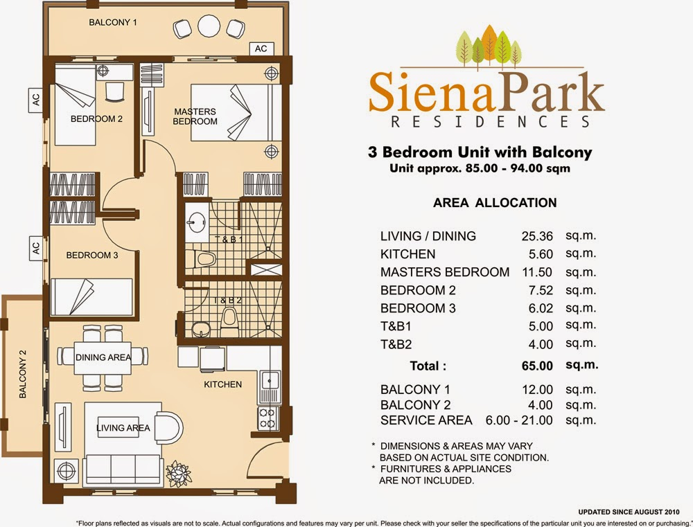 Siena Park Residences 3-Bedroom Unit 65.00 sqm