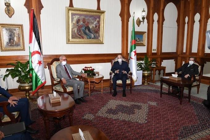 Tebboune recibió a Brahim Ghali y Abdelkader Taleb Omar en la sede presidencial de la República.