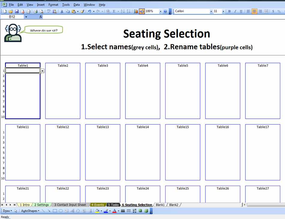 Free seating chart template word