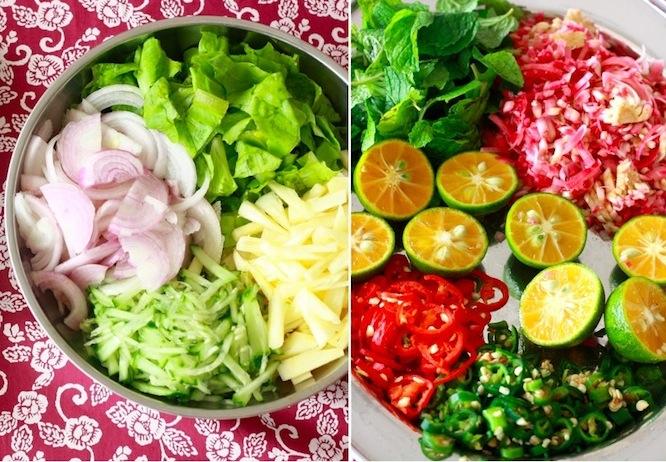 garnish vegetables, spices, herbs for laksa recipe